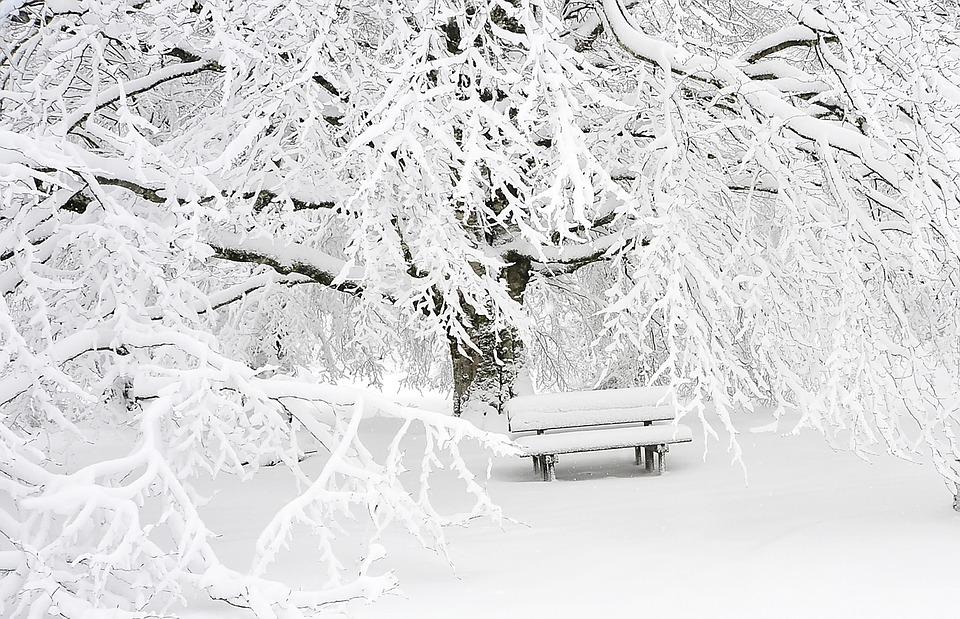 雪景色とベンチ