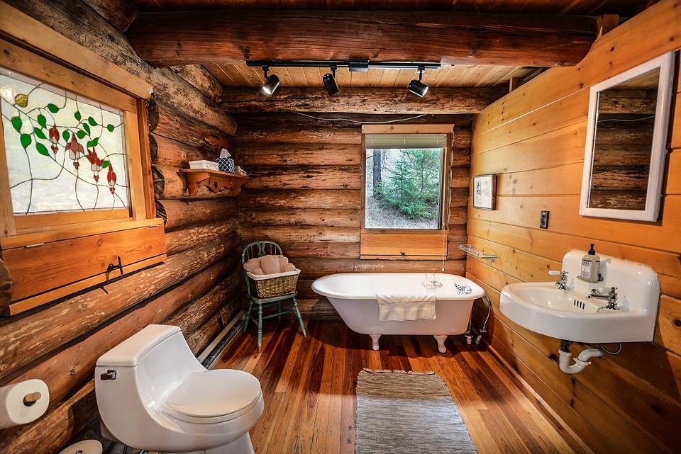 ログハウスのバスルーム