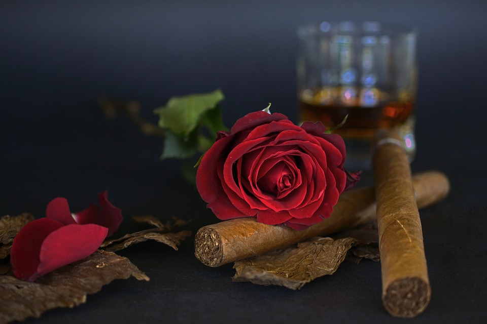 深紅のバラと葉巻とお酒