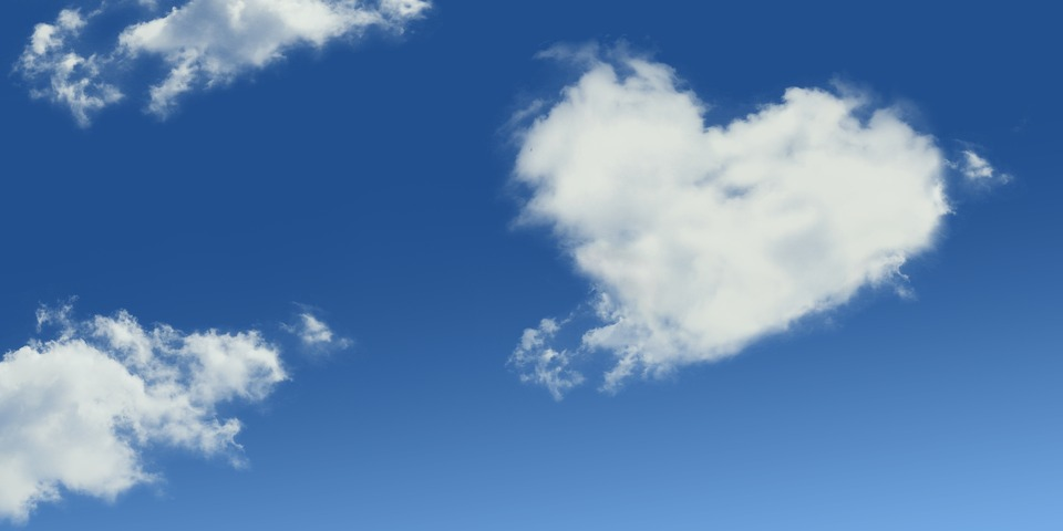 空に浮かぶハート型の雲
