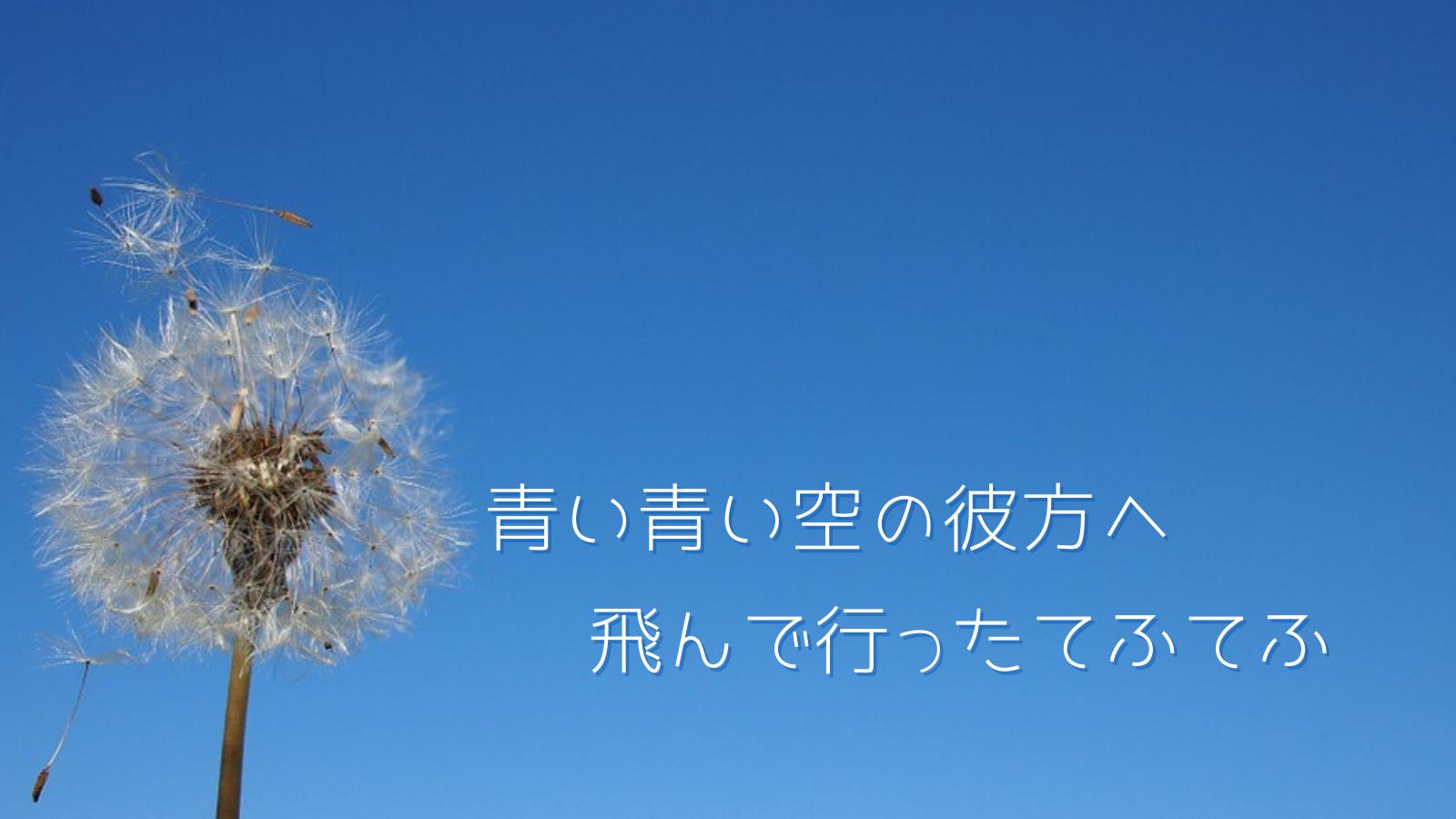 青空とタンポポの綿毛