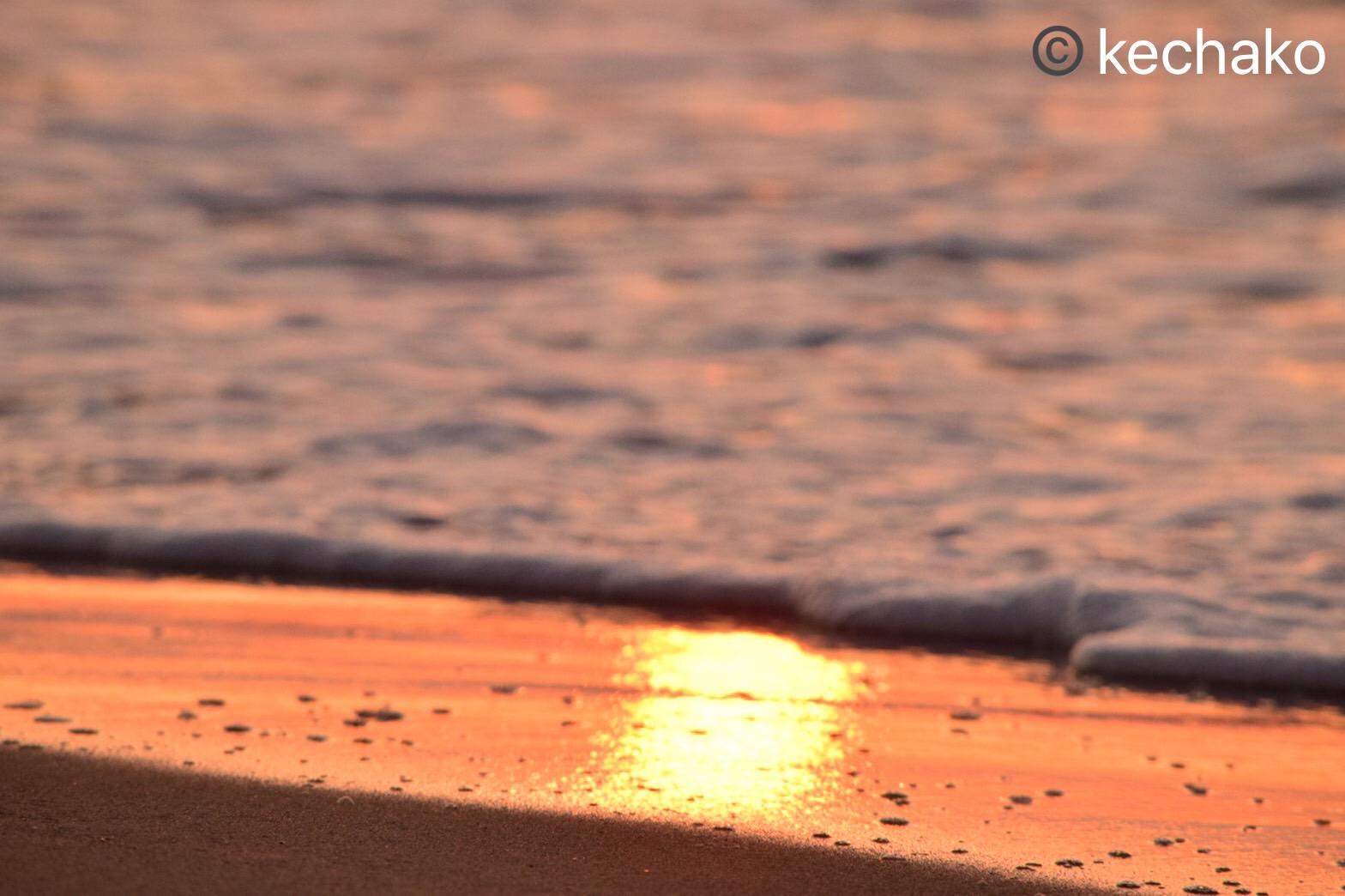 砂浜に映る夕日